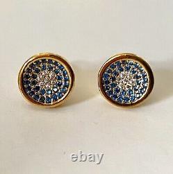 Last Pair Authentic Monica Vinader Evil Eyes Stud Earrings Gold £425 New In Box