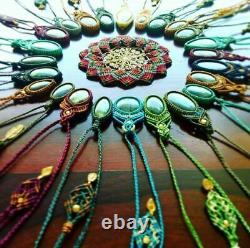 Lot Of 50 Macrame Necklaces Jewelry MIX Assorted Quality Stone Handmade