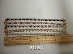 Lot Of 5 Gold Over Sterling Silver Tennis Bracelets, Cz, Gemstone #bb427