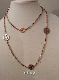 MICHAEL KORS'Heritage' Monogram Disc Rose Gold-Tone Long Necklace $MK 400