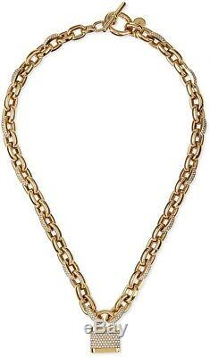 Michael Kors Oversized Chain withPadlock pendant necklace Gold tone With Stones