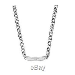 Michael Kors Silver Reversible, Chain Link, Pave Crystal Plaque Necklace Mkj3618