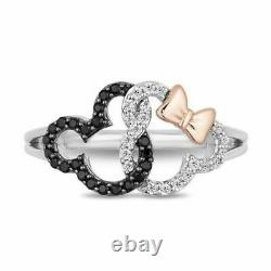 Mickey Mouse & Minnie Mouse 1.5ct Diamond 925 Silver Interlocking Ring Her Gift