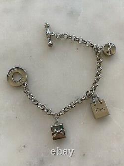 NEW DIOR Bracelet Logo Charms Authentic Dior Beauty Silver Monogram 7.5