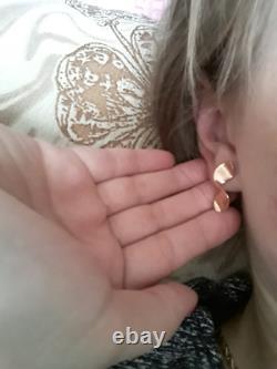 NEW Earrings Russian Solid Rose Gold 14K 585 fine jewelry USSR vintage style