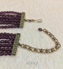 NEW HEIDI DAUS Purple 6 Row Oval Pendant Beaded Necklace