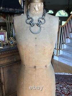 NEW IN BOX LANVIN PARIS 3 RING BLACK RIBBON CLEAR SWAROVSKI CRYSTAL Necklace