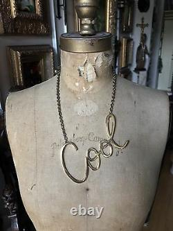 NEW LANVIN PARIS Gold Tone Brass Collier COOL LARGE Necklace