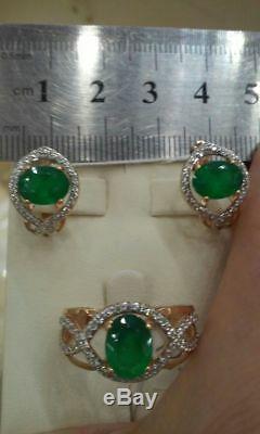 NEW Russian jewelry Earrings USSR style Gold Rose 14K 585 3.46g zircon chrysopra