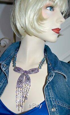 NIB $330 HEIDI DAUS Ribbon of Gems Swarovski Crystal Cascading BOW Necklace