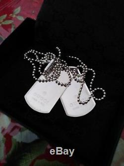 NIB Auth Gucci 925 Sterling Silver Double Dog Tag Necklace! BEAUTIFUL! SALE
