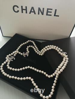 NIB CHANEL Classic CC Logo 3 CC LOGO Pearl 26 Long Chain Necklace