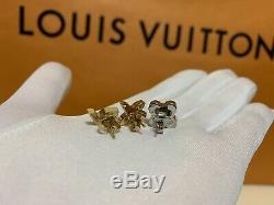 NWOT Authentic Louis Vuitton Stud Earrings Mismatched 3-pc Gold Silver Monogram