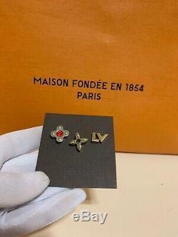 NWOT Louis Vuitton Stud Earrings Mismatched 3-pc Gold Silver Monogram Authentic