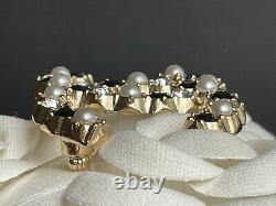 NWT 2020 CHANEL CC Logo Signature Gold/Black Crystal Beautiful Brooch W Receipt