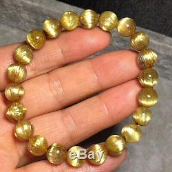 Natural Gold Rutilated Quartz Crystal Round Beads Wealth Bracelet 8.8mm AAAAA