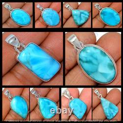 Natural Larimar Gemstone 12 Pc Wholesale Lot 925 Sterling Silver Plated Pendant