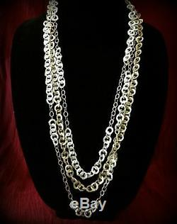 Neiman Marcus Multi-Tone Gold Plated Circle Chain Multi Layer Necklace Gorgeous