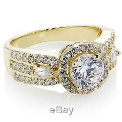 New 1.20Ct Round Cut Halo Diamond Engagement Wedding Ring 14k Yellow Gold Over