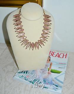 New $295 KENDRA SCOTT Stunning Gwendolyn Statement Necklace Peach Blush Illusion