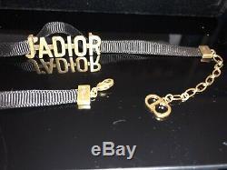 New Dior Black and Vintage Gold Color J'adior Choker Necklace