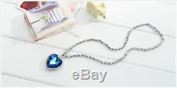 New Sparkly Shiny Ocean Blue Heart Made With Swarovski Crystal Necklace Pendant