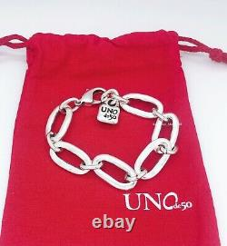 New UnoDe50 Brand Silver Tone Awesome Big Links Logo Padlock Bracelet