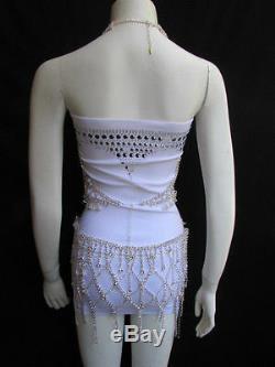 New Women Statement Full Body Silvers Chains Jewelry Rhinestones Skirt Bra Top
