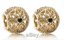 New set of 2 Pandora 14Kt Gold Delicate Beauty Black Spinel Charm 750821SPB