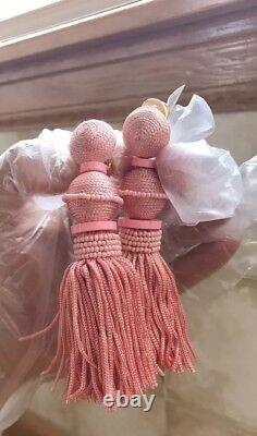 Oscar De La Renta Ball tassel Drop Earrings Grapefruit Color $465