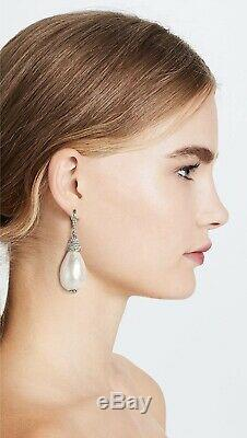 Oscar de la Renta 176847 Womens Imitation Pearl Crystal Drop Earrings Pearl