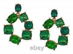 Oscar de la Renta 254800 Womens Bold Crystal Earrings Green Multi