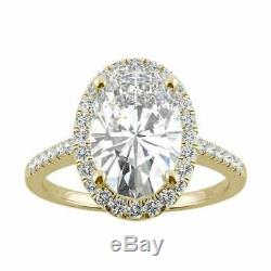 Oval Cut VVS1 Halo Engagement Wedding Ring 14k Yellow Gold Over Women's Spacial