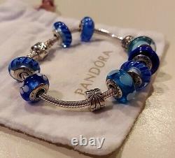PANDORASterling Silver & Blue Murano Glass Loaded Bracelet with 10 CharmsEUC