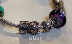 PANDORA 8 Fully Loaded Charm Bracelet with 15 Charms ClipsALE-925 EUC