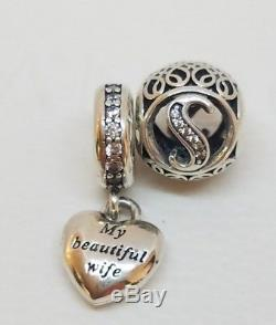 PANDORA Dangle Charm My Beautiful Wife heart 791524CZ and LETTER S with POUCH