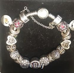 PANDORA Silver Bracelet with gold clasp and 18 beautiful charms