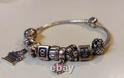 PANDORA Sterling Silver Loaded Charm Bracelet with 10 Charms ALE-925 EUC