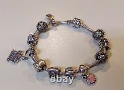 PANDORA Sterling Silver Loaded Charm Bracelet with 11 Charms ALE-925 EUC