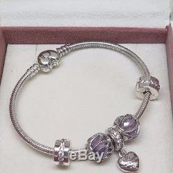 Pandora Purple My Beautiful Wife Heart Clasp Bracelet Gift Set Love Romance