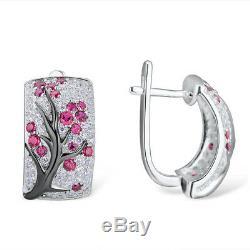 Plum Branch 925 Silver Emerald Ruby & White Topaz Hoop Wedding Jewelry Earrings