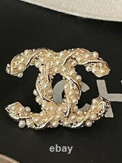 Preowned CHANEL Gold Tone Crystals Mini CC logo Swirl Faux Pearls Earrings
