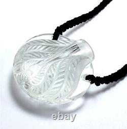 RARE LALIQUE FLACON CYTHEREE BOTTLE CRYSTAL with CROCHETED CORD NECKLACE PENDANT