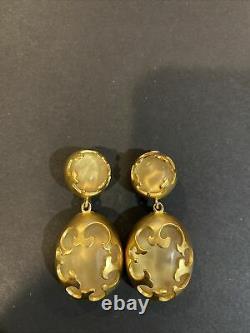 Rare Beautiful Statement Karl Lagerfeld KL Gold Tone Clip Dangle Earrings