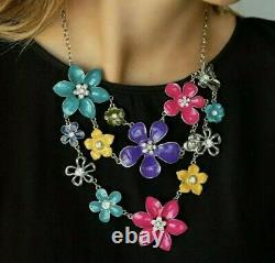 Rare Paparazzi Zi 2013 Empire Diamond Floral Necklace & Earring Set Htf