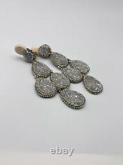 Roni Blanshay Metallic Silver Drama Chandelier Earrings Swarovski Crystal Clip
