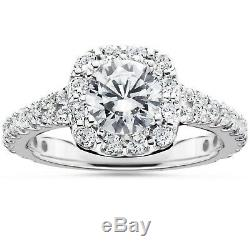 Round Cut VVS1 Halo Engagement Wedding Ring 14k White Gold Over Womens Spacial