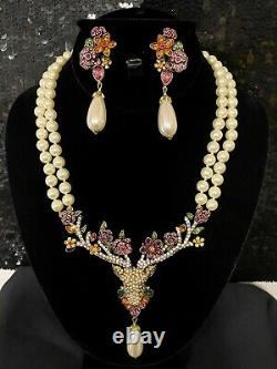 SIGNED SPECTACULAR Heidi Daus Oh Deer Crystal Accented Necklace & Earring Set
