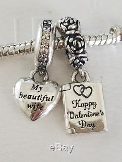 Set 2 Pandora Charm Valentine's Love Note 791246 My Beautiful Wife 791524CZ