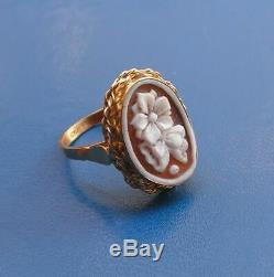 Shell Cameo Handmade Italy FLOWER Ring Size 8,5
